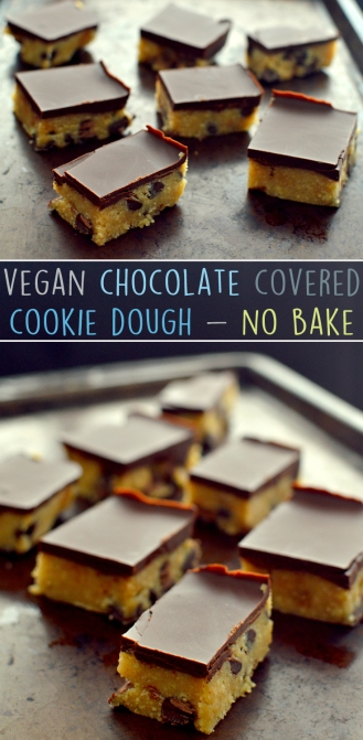 Vegan Chocolate Covered Cookie Dough Bars - Vegan No Bake Desserts - Gluten Free - Rich Bitch Cooking Blog