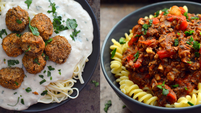 "3 Vegan Pasta & ""Meat"" Dishes - Rich Bitch Cooking Blog"