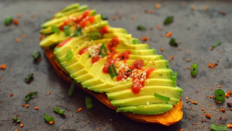 Vegan Avocado Grilled Sweet Potato Toast Snacks - 5 Vegan Whole Food Snacks - Healthy, Simple, College, Kid Snacks - Rich Bitch Cooking Blog