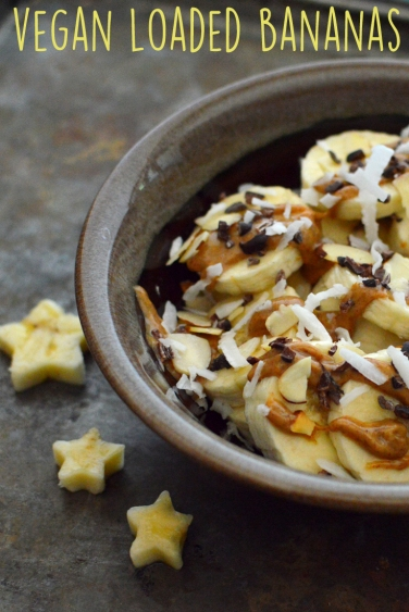 Vegan Bananas with Cacao Nibs, Coconut Flakes, Almond Butter Snacks - 5 Vegan Whole Food Snacks - Healthy, Simple, College, Kid Snacks - Rich Bitch Cooking Blog