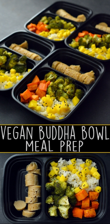 Vegan Buddha Bowl Meal Prep - High Protein Seitan, Rice, Veggies - Rich Bitch Cooking Blog