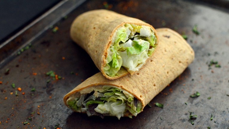 Vegan Hummus Wrap - 10 Vegan Snacks Under 250 Calories - Low Calories, Easy, Fast, Cheap, Healthy Snacks - Rich Bitch Cooking Blog