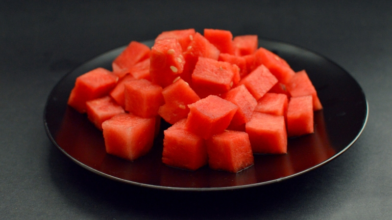 Massive Bowl Of Watermelon - 10 Vegan Snacks Under 250 Calories - Low Calories, Easy, Fast, Cheap, Healthy Snacks - Rich Bitch Cooking Blog
