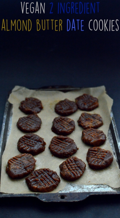 Vegan Almond Butter Cookies with Dates - Vegan 2 Ingredient Desserts (kinda) - Rich Bitch Cooking Blog - Simple Easy Fast Cheap