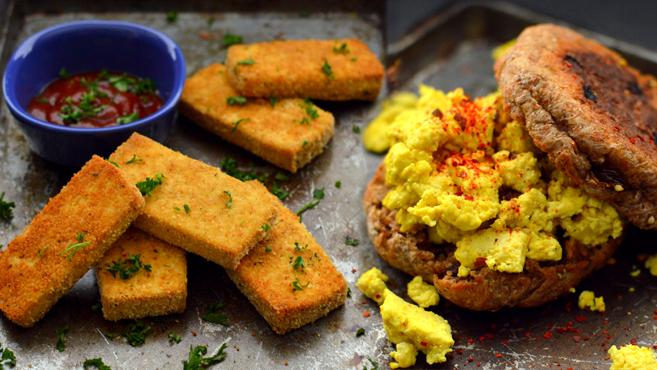6 Ways To Flavor & Cook Tofu - Rich Bitch Cooking Blog - Breaded Chick'n Tofu Nuggets, Baked Crispy Teriyaki tofu, Vegan Tofu Scramble, Korean Tofu