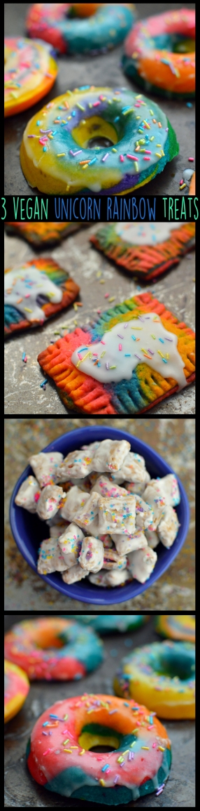 3 Vegan Unicorn + Rainbow Treats, Desserts, Party Snacks - Donuts, Sweet Chex Mix, Pop Tarts - Rich Bitch Cooking Blog - Dairy Free