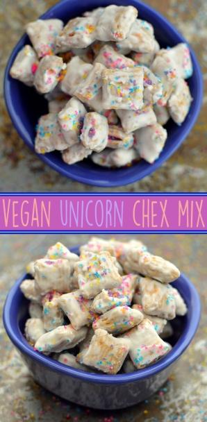 Vegan Unicorn Chex Mix - 3 Vegan Unicorn + Rainbow Treats, Desserts, Party Snacks - Donuts, Sweet Chex Mix, Pop Tarts - Rich Bitch Cooking Blog - Dairy Free