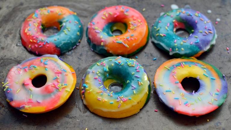 Vegan Rainbow Donuts - Unicorn Doughnuts - Party, Breakfast, Snacks, Treats - Rich Bitch Cooking Blog