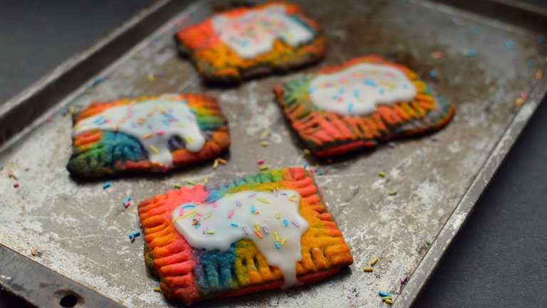 Vegan Unicorn Rainbow Pop Tarts - 3 Vegan Unicorn + Rainbow Treats, Desserts, Party Snacks - Donuts, Sweet Chex Mix, Pop Tarts - Rich Bitch Cooking Blog - Dairy Free